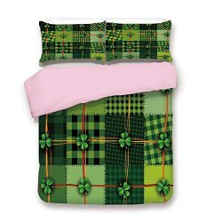 Pink Duvet Cover Set,Queen Size,Patchwork Style St. Patricks Day Themed Celtic Quilt Cultural Ch ...