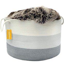 OrganiHaus XXL Cotton Rope Basket | Wide 20″ x 13.3″ Blanket Storage Basket with Lon ...