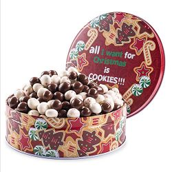 Benevelo Gifts Gourmet Holiday Snack Gift Set in Reusable Christmas Tin   Dark Chocolate Cookie  ...