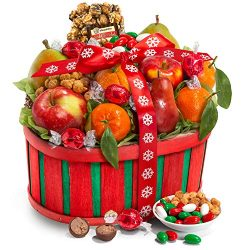 Christmas Holiday Sweets & Treats with Fresh Fruit and Chocolate Gift Basket