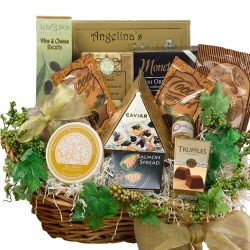 Savory Sophisticated Food Gift Basket with Caviar, Cheese, Cookies and Snacks, Size Large (Candy ...