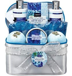 Bath and Body Gift Basket for Women – Ocean Bliss Home Spa Set with a Glittery Reusable Hot and  ...