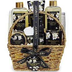 Bath and Body Gift Basket for Women and Men – Orchid and Jasmine Home Spa Set With Body Scrubs,  ...