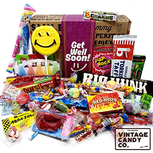 GET WELL SOON FEEL BETTER CARE PACKAGE- Nostalgic Decade Candies GIFT BOX – Fun Gag Gift B ...