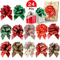 24 PCs Christmas Bows Pull Bows for Gift Wrapping Baskets Wedding Holiday Wine Bottle Decoration ...