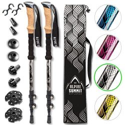 Alpine Summit Hiking/Trekking Poles with Anti-Shock Tips, Walking Sticks with Strong and Lightwe ...