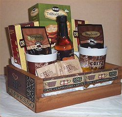 Folgers Coffee Gift Basket 2 Mugs Candy Creme Syrup Hot Chocolate Wood Crate