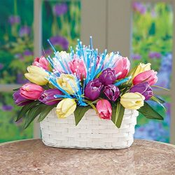 thaisan7 Christmas New Year,Mother,Family Party Gifts – Fiber Optic Lighted Tulips Basket  ...