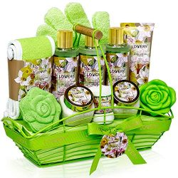 Bath and Body Gift Basket For Women and Men – Magnolia and Jasmine Home Spa Set, Includes Fragra ...
