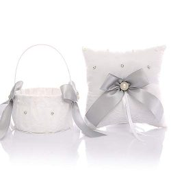 TRUE LOVE GIFT Silver Gray Wedding Bridal Ring Bearer Pillow Flower Girl Basket Set Set for Wedd ...