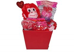 Gift set for Kids Valentine's Day Monkey Basket (1) Plush Monkey (Red) (1) Popup Balloon and Ass ...