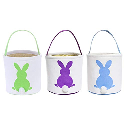 Faylapa Easter Egg Hunt Basket for Kids Bunny Canvas Tote – Party's Celebrate Decora ...