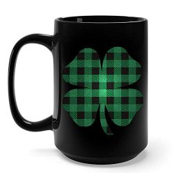 Funny Irish Gifts Green Shamrocks With Flannel Style St Patricks Day Clover Mug -15 Ounce Black  ...