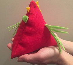 Soft fabric beanbag toy for kids – Natural linen chicken with filling – Red bird orn ...