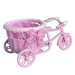 Party Diy Decorations – Creative Tricycle Bike Shape Design Artificial Flower Basket Conta ...