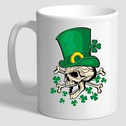 Funny Irish Gifts Skull With Green Hat St Patricks Day Shamrock Clover Mug -11 Ounce White Ceram ...
