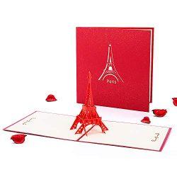 HOMEWINS 3D Pop Up Greeting Card Handmade Congratulations Gift Card Good Luck Famous Building Gr ...