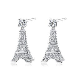 Paris Eiffel Tower Earrings Studs 18k Gold Plated Zircon for Women Girl Silver Jewelry Gift Box