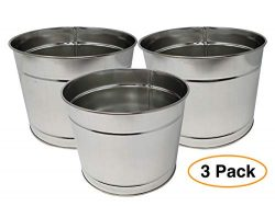 Large Metal Bucket (3 Pack) Pail Tins Silver no handle for Gifts Basket, Plants, Ice or Candy &# ...