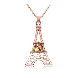 Mall of Style Eiffel Tower Necklace – Paris Gifts Rose Gold Jewelry Women/Girls