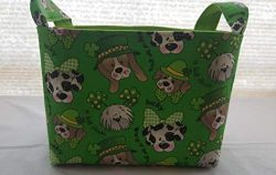 Fabric Organizer Basket Storage Container St Patrick's Day – Glitter Dogs – Ha ...
