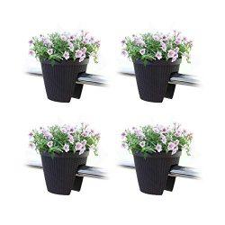 T4U Deck Balcony Railing Planter Flower Box 11.5″ Brown Set of 4, Plastic Rattan Flower Br ...