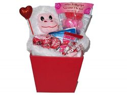 Gift set for Kids Valentine's Day Monkey Basket (1) Plush Monkey (White) (1) Popup Balloon and A ...