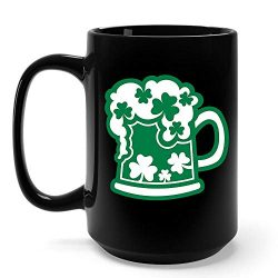 Funny Irish Gifts Real Irish Beer With Shamrocks St Patricks Day Shamrock Clover Mug -15 Ounce B ...