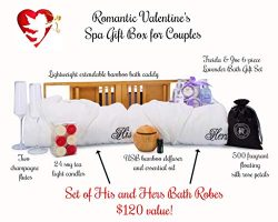 Spa Gift Box with His and Hers Bathrobes Sets – Romantic Couples Anniversary or Valentines Day D ...
