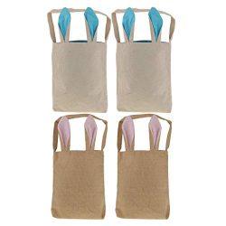 4pcs Easter Bunny Bags Easter Bunny Baskets Jute Burlap Bunny Ear Tote Bags Easter Gift Bag DIY  ...