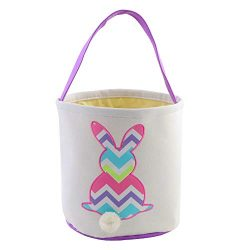 Easter Bunny Basket Bags for Kids Hand-Embroidered Wavy Rabbit Baskets Store Large Quantities of ...