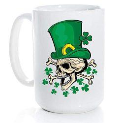 Funny Irish Gifts Skull With Green Hat St Patricks Day Shamrock Clover Mug -15 Ounce White Ceram ...