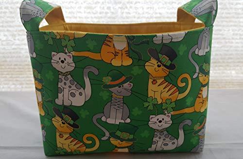 Fabric Organizer Basket Storage Container St Patrick's Day – Glitter Cats – Ha ...