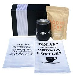 Coffee Gifts Basket- Includes Funny Insulated Coffee Mug, Coffee Inspired Hand Towels and Direct ...