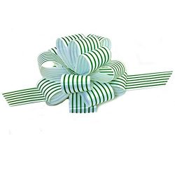 Green White Stripe Christmas Gift Wrap Pull Bows – 5″ Wide, Set of 10, St. Patrick&# ...