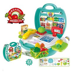 qiaoniuniu Kids Grocery Cash Register Set Multi-Functional Educational Pretend Play Toys with Sc ...