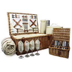 Deluxe Sandringham 4 Person Wicker Picnic Hamper Basket with Accessories – Luxury Christma ...