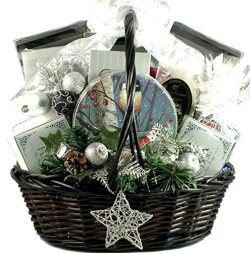 Starry Night, Elegant Holiday Gift Basket With Holiday Favorites: Cookies, Chocolates, Candies,  ...