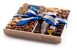 Nuttery Gourmet Chocolate & Nuts Classic 4 Section Holiday Gift Tray- Elegant Hanukkah Assor ...