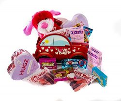 Love Bug Chocolates & Candy with Sweetie Puppy Valentine Gift Basket