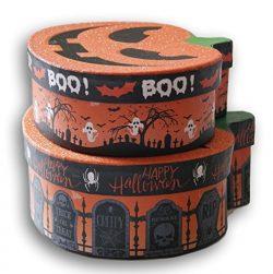 Halloween Themed Glittery Pumpkin Nesting Gift Boxes – Spooky Jack O'Lantern – ...