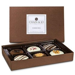 Chain & Jo Sweets Chocolate Covered Cookies Gift Box Assortment Dairy Chocolate 6 Toppings H ...