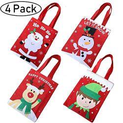 4 Pack Christmas Tote Gift Bags,Reusable Christmas Candy Bag Santa Claus Elf Snowmen Reindeer Em ...
