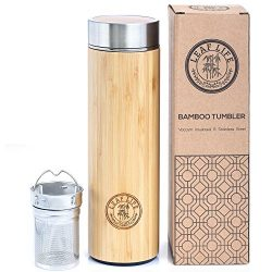 Original Bamboo Tumbler with Tea Infuser & Strainer by LeafLife | 17oz Stainless Steel Water ...