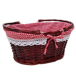 Oypeip Wicker Basket Gift Baskets Empty Oval Willow Woven Picnic Easter Candy Basket Large Stora ...
