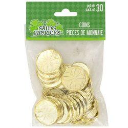St. Plastic St. Patrick Shamrock Coins, 30-ct. Packs