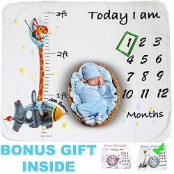 Cozy Baby Milestone Blanket with Height Tracker Weekly Monthly Photo Props Shoots Backdrop for N ...