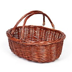 MEIEM Wicker Basket Picnic Basket Gift Baskets Empty Oval Willow Woven Basket Easter Basket Larg ...