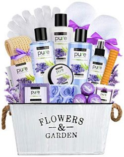 Super Large Lavender Essential Oil Spa Basket – Gardener Lavender Tin Gift Basket. Premium Bath  ...