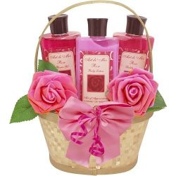 Dipped in Luxury Spa Bath and Body Set Gift Basket (Rose Scented) 3 Piece Kit with Shower Gel, B ...